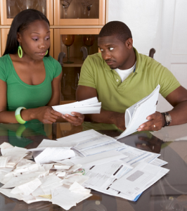 Couple struggling to the pay the bills.